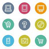 Electronics web icons set 1, color circle buttons