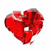 pic of glass heart  - red glass heart broken into peaces isolated on white - JPG
