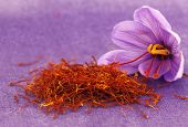 pic of saffron  - Dried saffron spice and Saffron flower - JPG