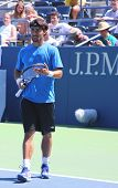 Professional tennis player Fabio Fognini from Italy practices for US Open 2013