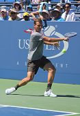 Professional tennis player Tomas Berdych from Czech Republic practices for US Open 2013