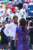 Twelve times Grand Slam champion Rafael Nadal during interview after third round match US Open 2013
