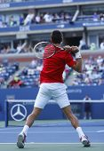 Professional tennis player Novak Djokovic during  fourth round match at US Open 2013
