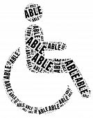 image of disable  - Tag or word cloud disability related in shape of human on wheelchair - JPG