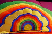 Inside of a colorful hot air balloon during inflation