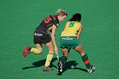 BLOEMFONTEIN, SOUTH AFRICA - FEBRUARY 7: Charlotte de Vos (L) and Marsha Marescia (R) during a women's field hockey match between South Africa and Belgium, Bloemfontein, South Africa, 7 February 2011
