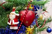 Beautiful Toys On A Christmas Tree - Santa Claus, Heart And Star
