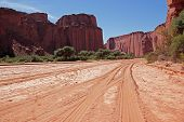 Dry riverbed and steep sandstone cliffs in the Talampaya National Park, La Rioja, Argentina