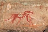 Bushmen (san) rock painting depicting a predator (cheetah), Drakensberg mountains, South Africa