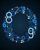 Letter O, vector font from numbers