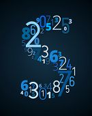 Letter S, vector font from numbers