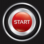 Start button on Carbon fiber background.