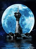stock photo of wizard  - Halloween image of a dark mysterious tower on a rock island with bats and a moon background - JPG