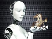 stock photo of cyborg  - Female android robot holding a baby dragon - JPG