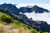 Pico Ruivo and Pico do Areeiro mountain peaks in  Madeira, Portugal
