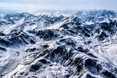 image of denali national park  - Aerial View of the Headwaters of a Beautiful Glacier in the Great Alaskan Wilderness - JPG