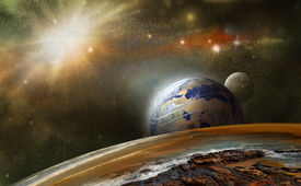 image of outer  - view from another planet in outer space and distant planets - JPG