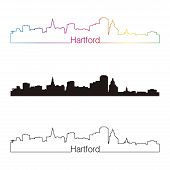 Hartford Skyline Linear Style With Rainbow