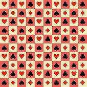 Two playing Cards Suits Seamless Patterns and Backgrounds. Vector Illustration