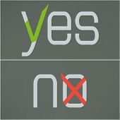 Yes and no button checkmark on gray background made in modern flat design. Website button template.