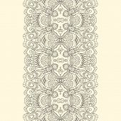 Lace Fabric Seamless Border With Abstract Ornament
