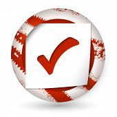 Red Abstract Icon With Paper And Check Box