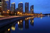Coal Harbor Towers, Twilight, Vancouver