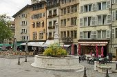 Square With A Fountain In Geneva, Switzerland
