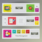 Set of flat design web banners with icons for time managment.