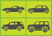 Four Cars Vector Illustration
