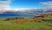 Kaikoura with snow capped peaks, North Island, New Zealand