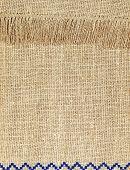Natural Linen Texture Pattern With Fringe Taken.background.