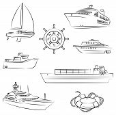 stock photo of passenger ship  - Vector illustration of the Boats and ships - JPG