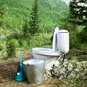 Ceramic New Toilet In The Woods