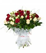 bouquet of white and red roses isolated on white