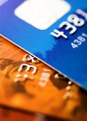 Credit cards background. Small deep of focus