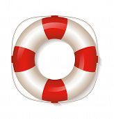 White Life Buoy. Vector Illustration.
