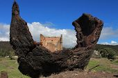 picture of blast-furnace  - Remnants of the Lithgow Blast Furnace in a sculpture - JPG