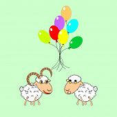 A Funny Cartoon Sheep And Ram With Many Colorful Balloons