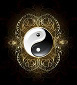 foto of plexus  - yin yang symbol on a dark background decorated with gold abstract pattern of abstract beings - JPG