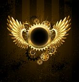 Round Banner With Steampunk Wings