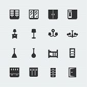 image of bunk-bed  - Vector home furniture mini icons set  - JPG