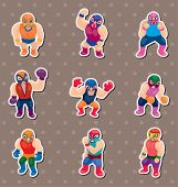 Cartoon Wrestler Stickers