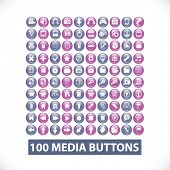 media flat icons, buttons, elements: vector design collection