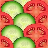 Sliced Tomato And Cucumber Vegetables