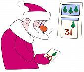 Santa-klaus tears off a calendar leaf