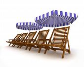 Deck chairs with beach umbrella isolated 3d