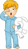 foto of pajamas  - Illustration of a Little Boy in Pajamas Who Has Just Woken Up - JPG
