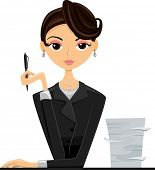 Illustration of an Office Girl in a Black Suit Sitting Beside a Stack of Paper