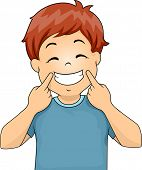 Illustration of a Little Boy Gesturing a Smile